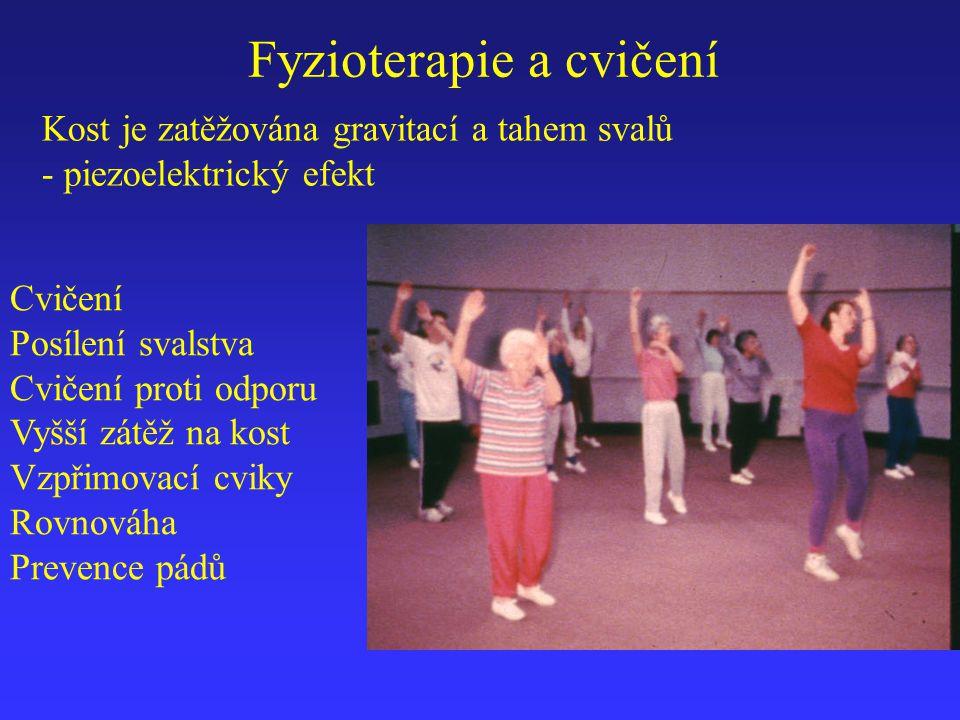 Fyzioterapie a cvičení Cvičení Posílení svalstva Cvičení proti odporu Vyšší zátěž na kost Vzpřimovací cviky Rovnováha Prevence pádů Kost je zatěžována