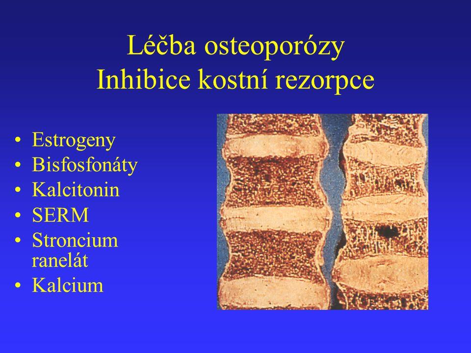 Léčba osteoporózy Inhibice kostní rezorpce Estrogeny Bisfosfonáty Kalcitonin SERM Stroncium ranelát Kalcium