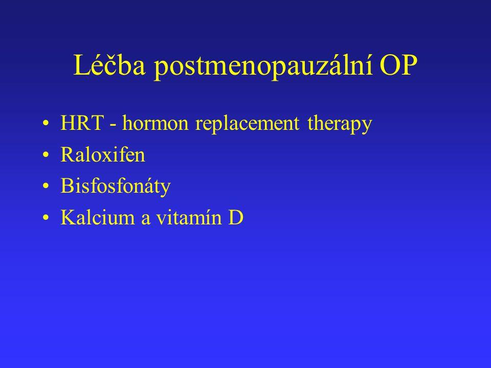 Léčba postmenopauzální OP HRT - hormon replacement therapy Raloxifen Bisfosfonáty Kalcium a vitamín D