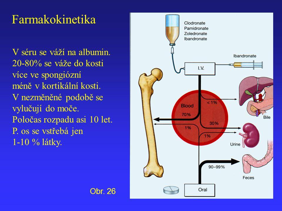 V séru se váží na albumin. 20-80% se váže do kosti více ve spongiózní méně v kortikální kosti. V nezměněné podobě se vylučují do moče. Poločas rozpadu