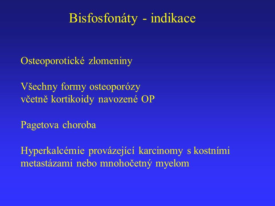 Bisfosfonáty - indikace Osteoporotické zlomeniny Všechny formy osteoporózy včetně kortikoidy navozené OP Pagetova choroba Hyperkalcémie provázející ka