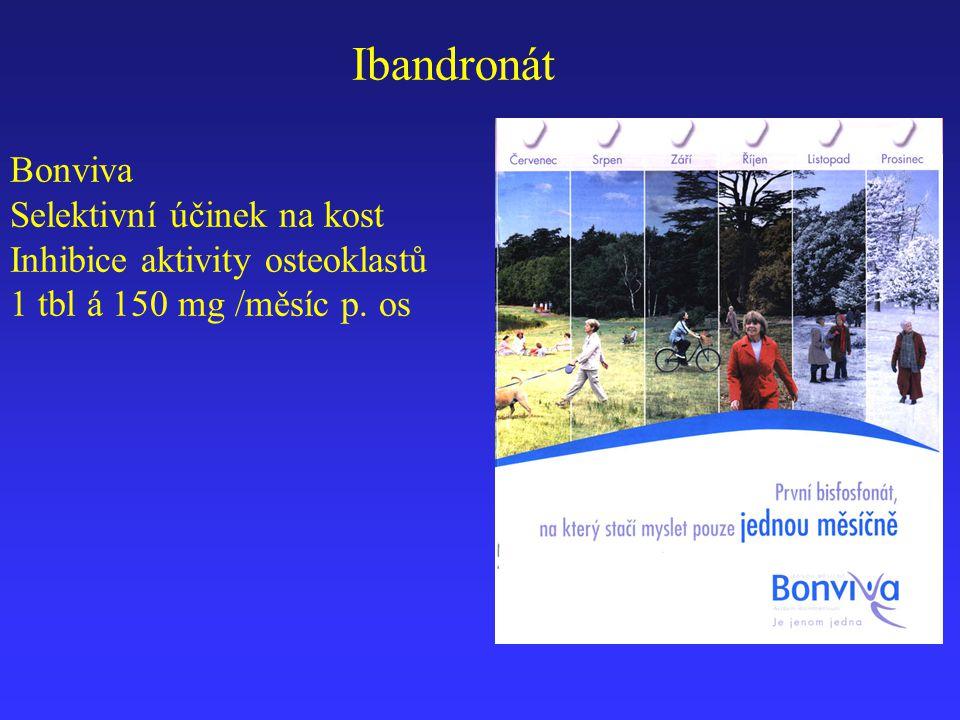 Bonviva Selektivní účinek na kost Inhibice aktivity osteoklastů 1 tbl á 150 mg /měsíc p. os Ibandronát