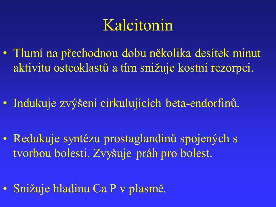 Kalcitonin Tlumí na přechodnou dobu několika desítek minut aktivitu osteoklastů a tím snižuje kostní rezorpci. Indukuje zvýšení cirkulujících beta-end