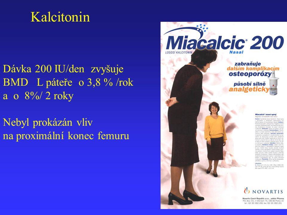 Dávka 200 IU/den zvyšuje BMD L páteře o 3,8 % /rok a o 8%/ 2 roky Nebyl prokázán vliv na proximální konec femuru Kalcitonin