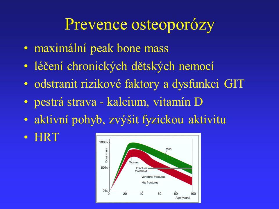 Bisfosfonáty - indikace Osteoporotické zlomeniny Všechny formy osteoporózy včetně kortikoidy navozené OP Pagetova choroba Hyperkalcémie provázející karcinomy s kostními metastázami nebo mnohočetný myelom