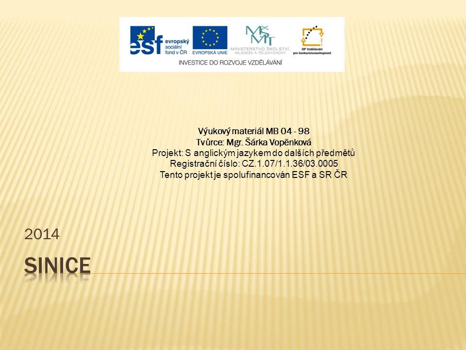 2014 Výukový materiál MB 04 - 98 Tvůrce: Mgr. Šárka Vopěnková Projekt: S anglickým jazykem do dalších předmětů Registrační číslo: CZ.1.07/1.1.36/03.00