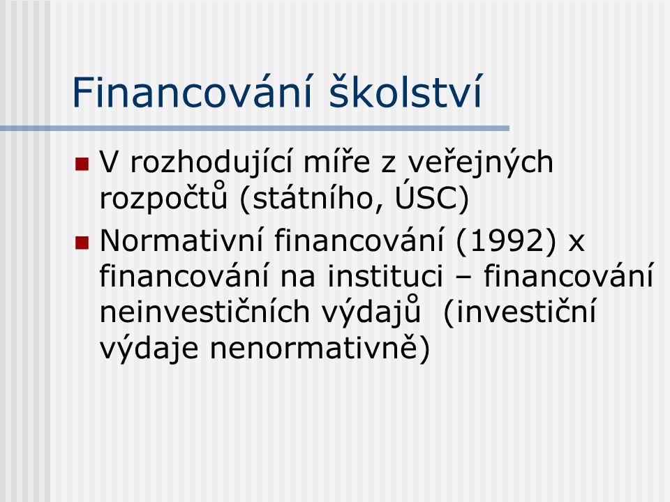 Financování školství V rozhodující míře z veřejných rozpočtů (státního, ÚSC) Normativní financování (1992) x financování na instituci – financování neinvestičních výdajů (investiční výdaje nenormativně)