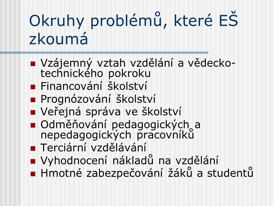 Okruhy problémů, které EŠ zkoumá Vzájemný vztah vzdělání a vědecko- technického pokroku Financování školství Prognózování školství Veřejná správa ve školství Odměňování pedagogických a nepedagogických pracovníků Terciární vzdělávání Vyhodnocení nákladů na vzdělání Hmotné zabezpečování žáků a studentů