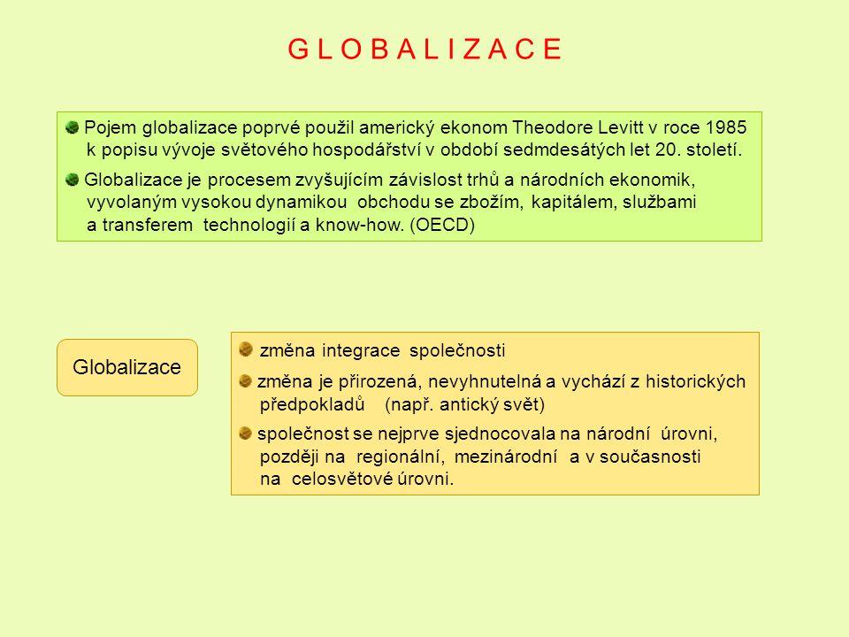 G L O B A L I Z A C E Pojem globalizace poprvé použil americký ekonom Theodore Levitt v roce 1985 k popisu vývoje světového hospodářství v období sedm