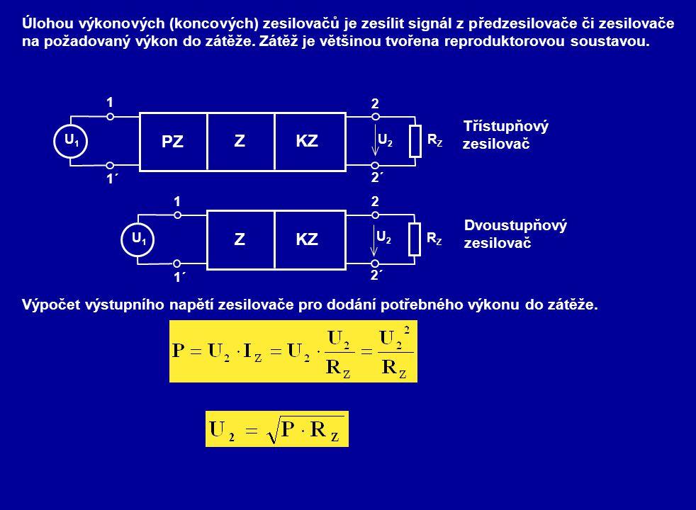 Úlohou výkonových (koncových) zesilovačů je zesílit signál z předzesilovače či zesilovače na požadovaný výkon do zátěže. Zátěž je většinou tvořena rep
