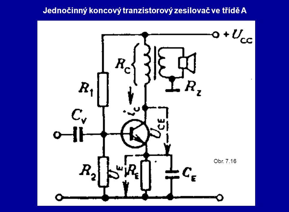 Jednočinný koncový tranzistorový zesilovač ve třídě A Obr. 7.16