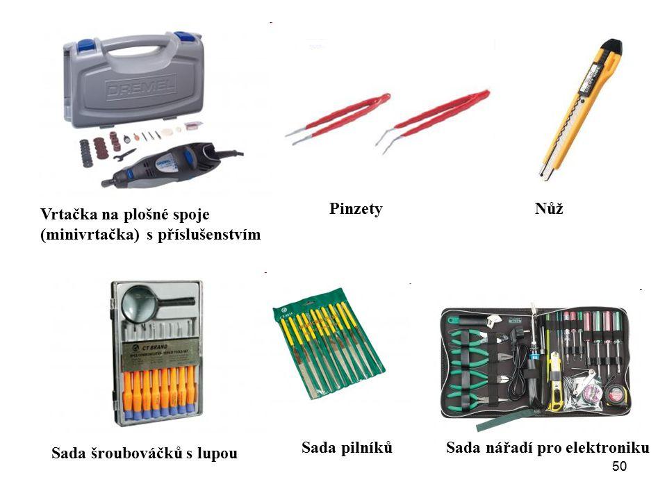 50 Sada nářadí pro elektroniku Vrtačka na plošné spoje (minivrtačka) s příslušenstvím Sada šroubováčků s lupou PinzetyNůž Sada pilníků