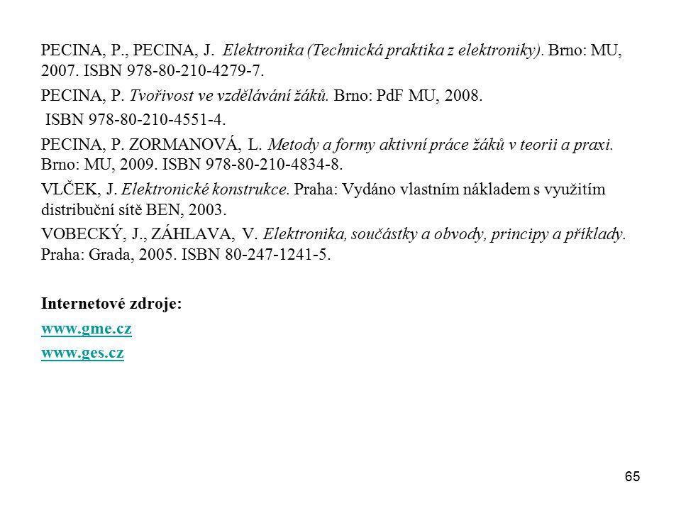 65 PECINA, P., PECINA, J. Elektronika (Technická praktika z elektroniky). Brno: MU, 2007. ISBN 978-80-210-4279-7. PECINA, P. Tvořivost ve vzdělávání ž