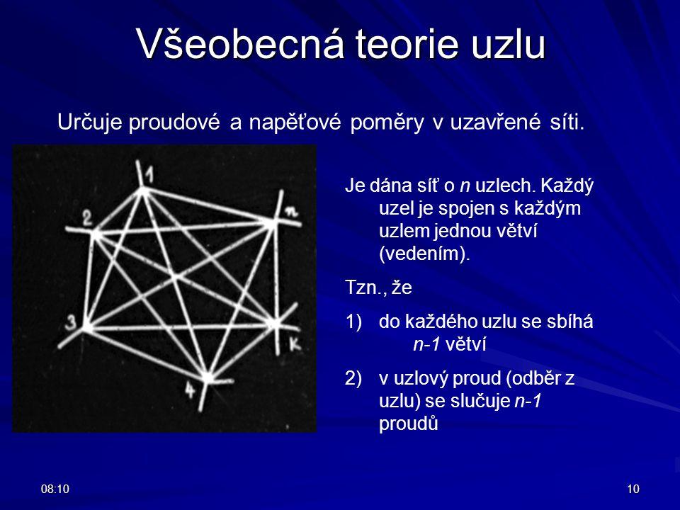 08:1210 Všeobecná teorie uzlu Určuje proudové a napěťové poměry v uzavřené síti. Je dána síť o n uzlech. Každý uzel je spojen s každým uzlem jednou vě