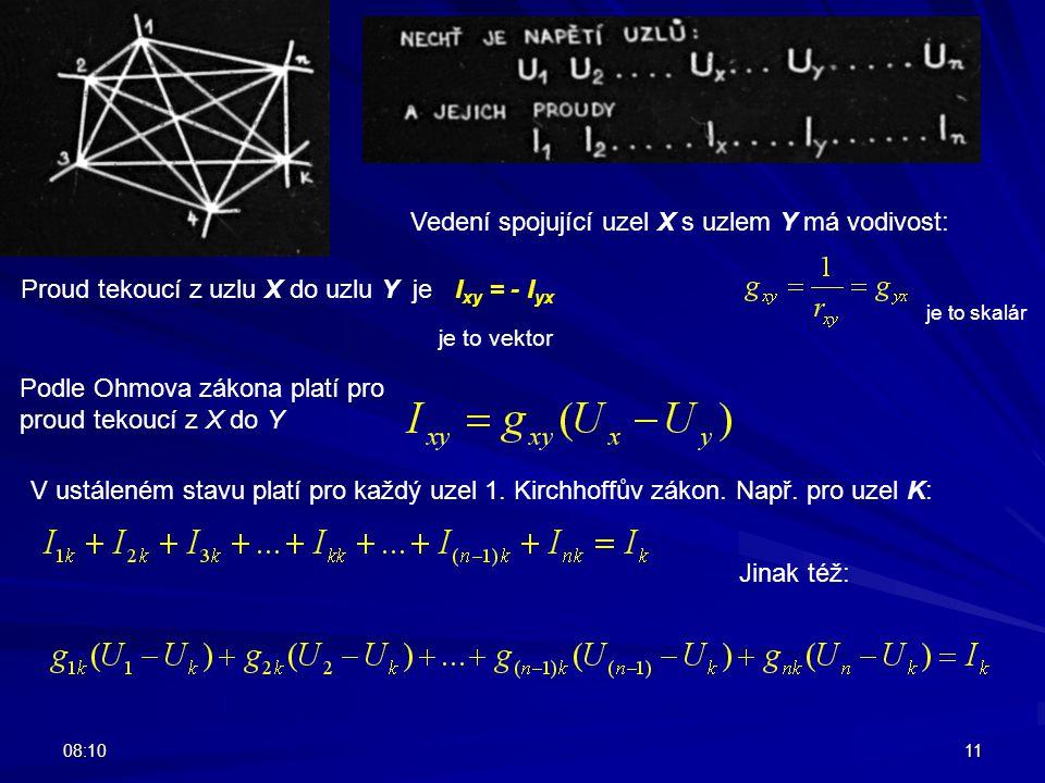 08:1211 Proud tekoucí z uzlu X do uzlu Y je I xy = - I yx je to vektor Vedení spojující uzel X s uzlem Y má vodivost: je to skalár Podle Ohmova zákona