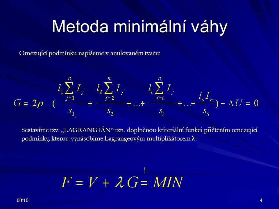 """08:124 Metoda minimální váhy Omezující podmínku napíšeme v anulovaném tvaru: Sestavíme tzv. """"LAGRANGIÁN"""" tzn. doplněnou kriteriální funkci přičtením o"""