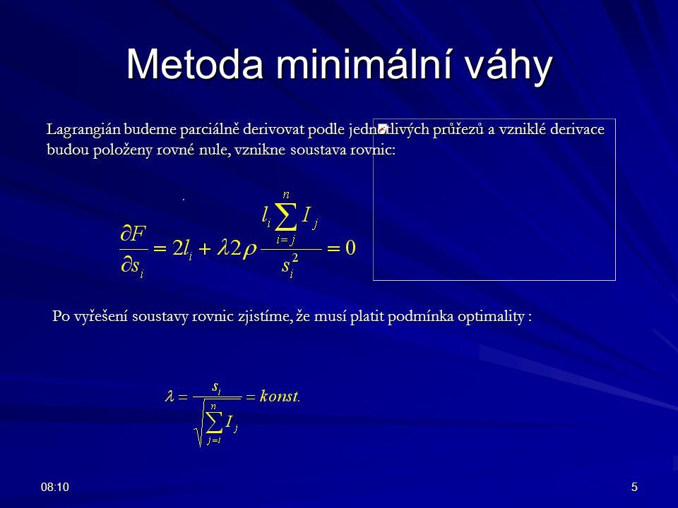 08:125 Metoda minimální váhy Lagrangián budeme parciálně derivovat podle jednotlivých průřezů a vzniklé derivace budou položeny rovné nule, vznikne so