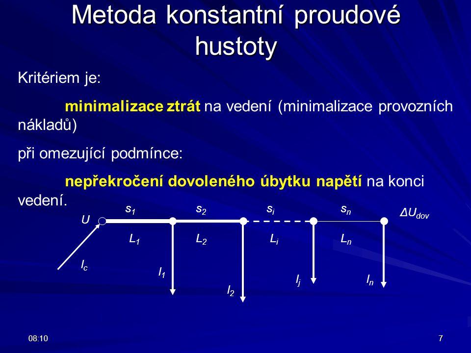 08:127 Metoda konstantní proudové hustoty Kritériem je: minimalizace ztrát na vedení (minimalizace provozních nákladů) při omezující podmínce: nepřekr