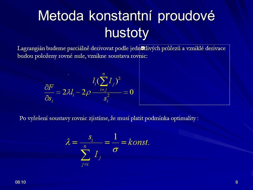 08:128 Metoda konstantní proudové hustoty Lagrangián budeme parciálně derivovat podle jednotlivých průřezů a vzniklé derivace budou položeny rovné nul