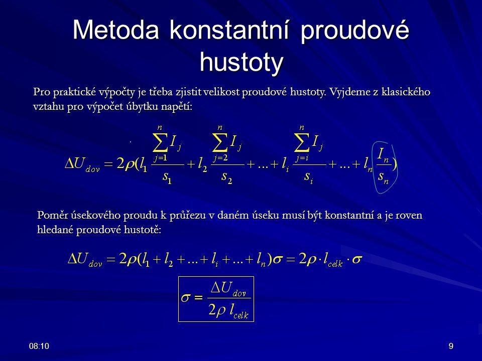 08:129 Metoda konstantní proudové hustoty Pro praktické výpočty je třeba zjistit velikost proudové hustoty. Vyjdeme z klasického vztahu pro výpočet úb