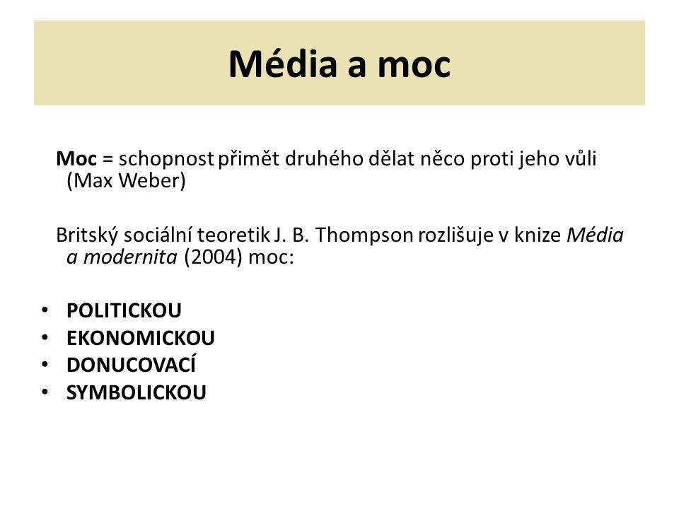 Média a moc Moc = schopnost přimět druhého dělat něco proti jeho vůli (Max Weber) Britský sociální teoretik J. B. Thompson rozlišuje v knize Média a m
