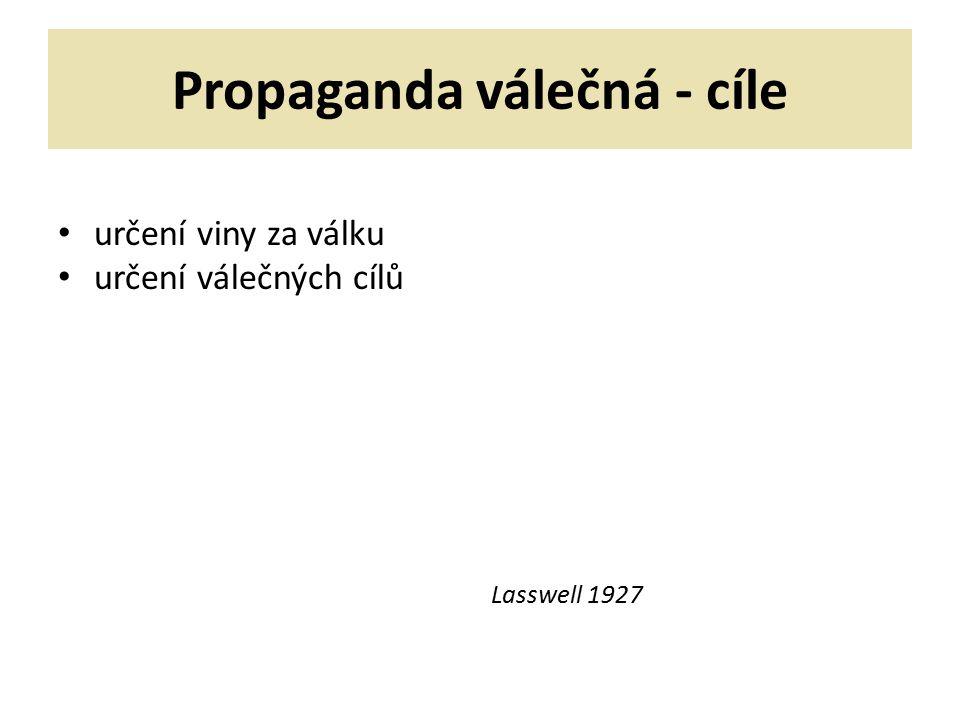 Propaganda válečná - cíle určení viny za válku určení válečných cílů Lasswell 1927
