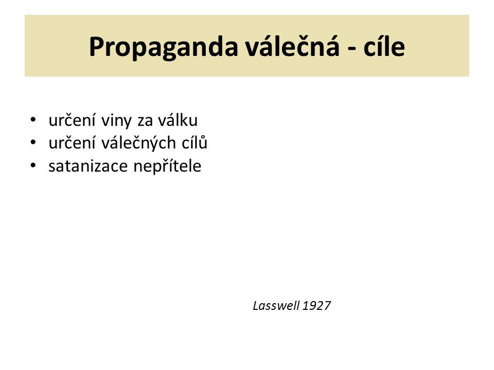 Propaganda válečná - cíle určení viny za válku určení válečných cílů satanizace nepřítele Lasswell 1927