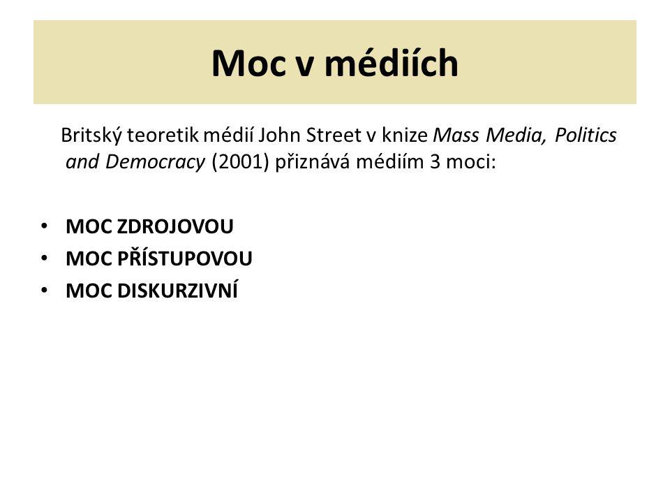 Moc v médiích Britský teoretik médií John Street v knize Mass Media, Politics and Democracy (2001) přiznává médiím 3 moci: MOC ZDROJOVOU MOC PŘÍSTUPOVOU MOC DISKURZIVNÍ