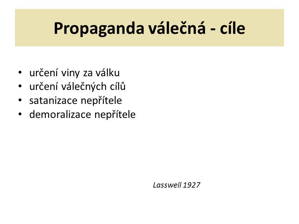 Propaganda válečná - cíle určení viny za válku určení válečných cílů satanizace nepřítele demoralizace nepřítele Lasswell 1927