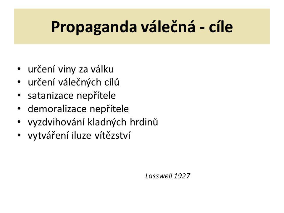 Propaganda válečná - cíle určení viny za válku určení válečných cílů satanizace nepřítele demoralizace nepřítele vyzdvihování kladných hrdinů vytváření iluze vítězství Lasswell 1927