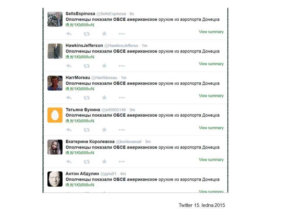 Twitter 15. ledna 2015
