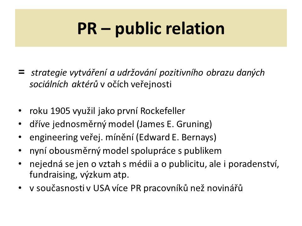 PR – public relation = strategie vytváření a udržování pozitivního obrazu daných sociálních aktérů v očích veřejnosti roku 1905 využil jako první Rockefeller dříve jednosměrný model (James E.