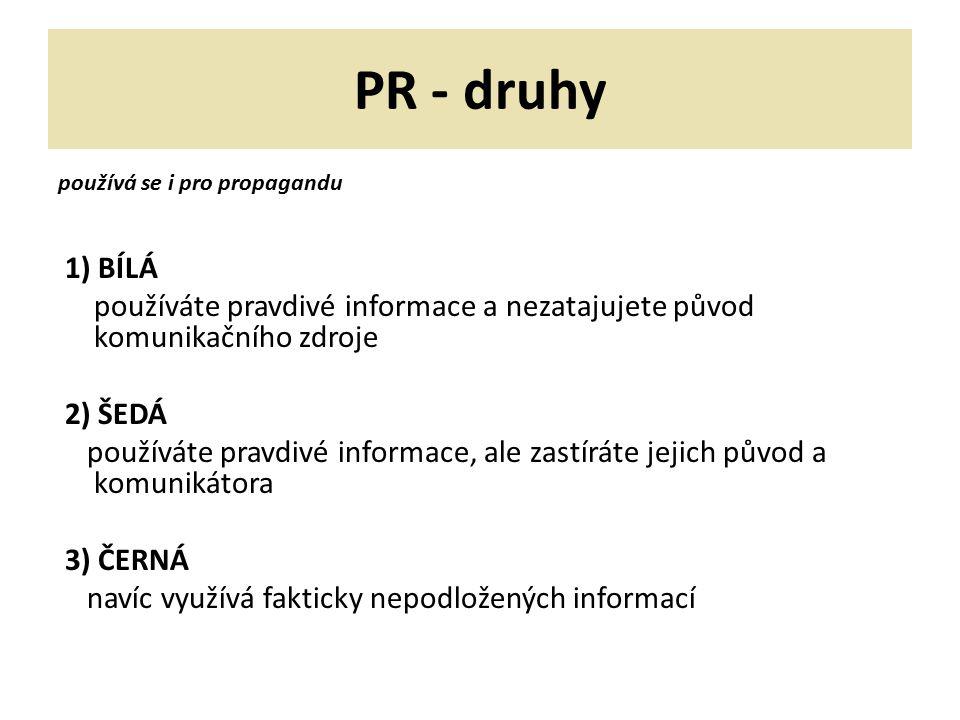 PR - druhy používá se i pro propagandu 1) BÍLÁ používáte pravdivé informace a nezatajujete původ komunikačního zdroje 2) ŠEDÁ používáte pravdivé infor