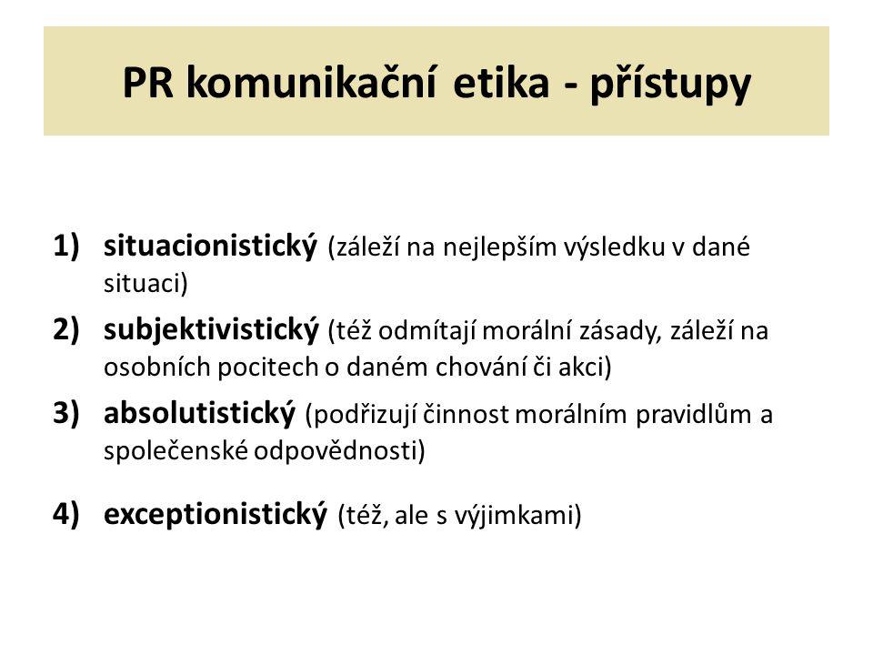 PR komunikační etika - přístupy 1)situacionistický (záleží na nejlepším výsledku v dané situaci) 2)subjektivistický (též odmítají morální zásady, záleží na osobních pocitech o daném chování či akci) 3)absolutistický (podřizují činnost morálním pravidlům a společenské odpovědnosti) 4)exceptionistický (též, ale s výjimkami)