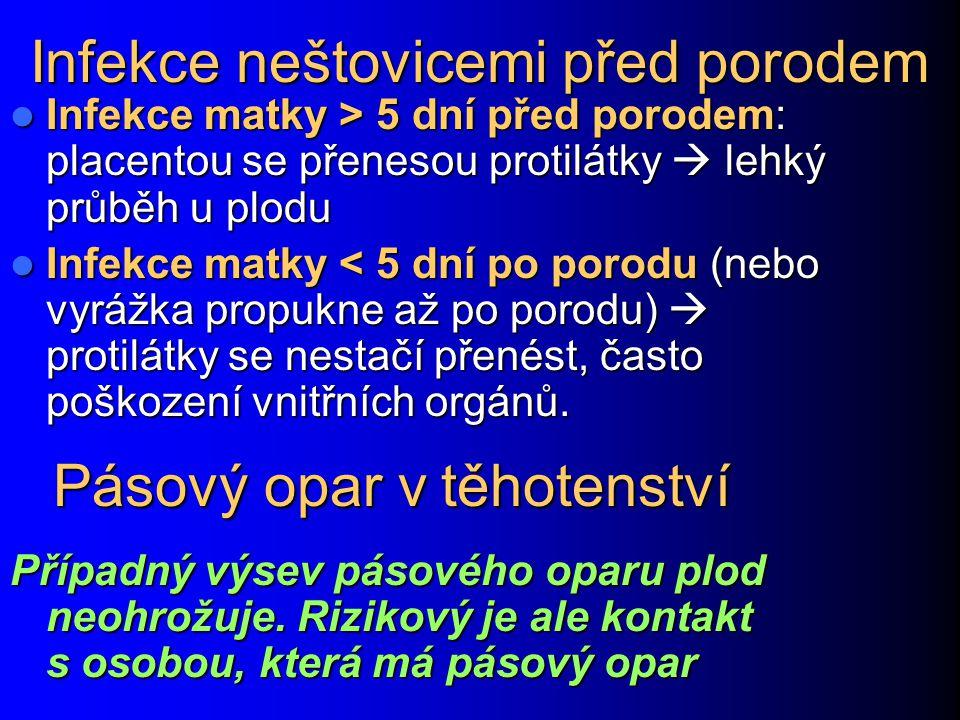 Infekce neštovicemi před porodem Infekce matky > 5 dní před porodem: placentou se přenesou protilátky  lehký průběh u plodu Infekce matky > 5 dní pře