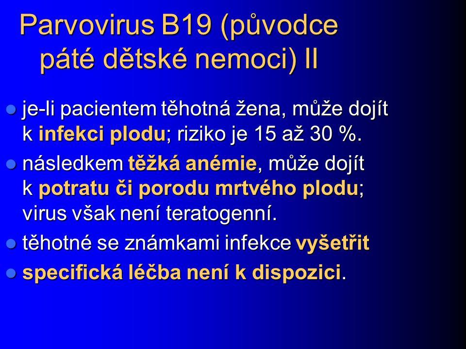 Parvovirus B19 (původce páté dětské nemoci) II je-li pacientem těhotná žena, může dojít k infekci plodu; riziko je 15 až 30 %. je-li pacientem těhotná
