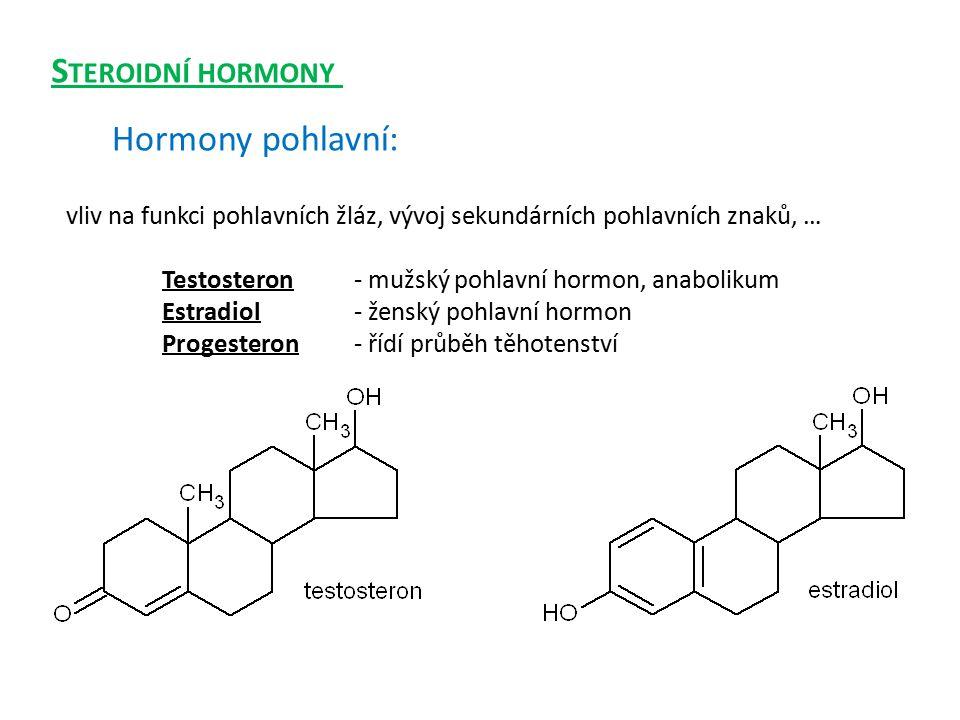 vliv na funkci pohlavních žláz, vývoj sekundárních pohlavních znaků, … Testosteron- mužský pohlavní hormon, anabolikum Estradiol- ženský pohlavní horm