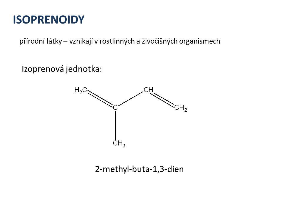 ISOPRENOIDY přírodní látky – vznikají v rostlinných a živočišných organismech 2-methyl-buta-1,3-dien Izoprenová jednotka: