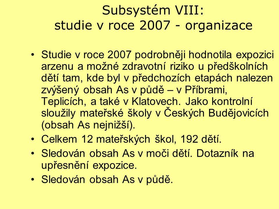 Subsystém VIII: studie v roce 2007 - organizace Studie v roce 2007 podrobněji hodnotila expozici arzenu a možné zdravotní riziko u předškolních dětí t