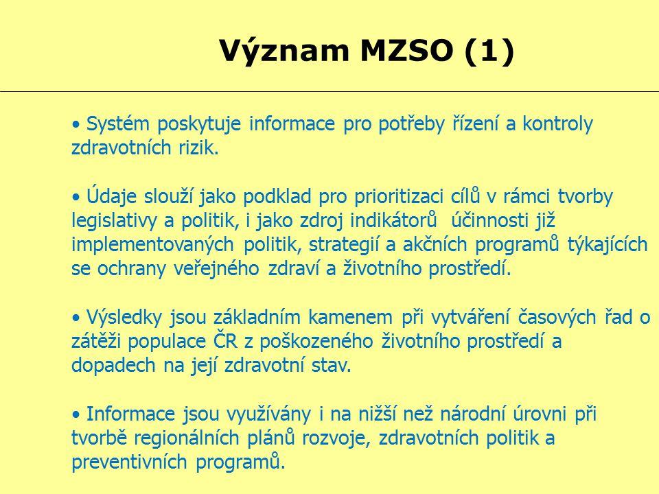 Význam MZSO (1) Systém poskytuje informace pro potřeby řízení a kontroly zdravotních rizik. Údaje slouží jako podklad pro prioritizaci cílů v rámci tv