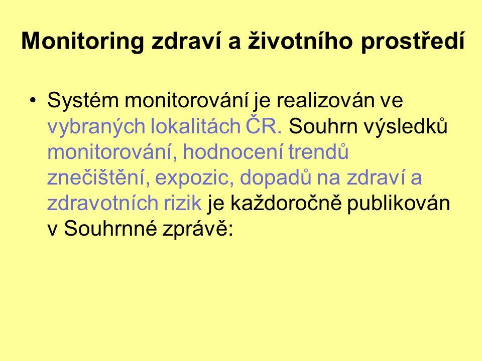 Monitoring zdraví a životního prostředí Systém monitorování je realizován ve vybraných lokalitách ČR. Souhrn výsledků monitorování, hodnocení trendů z