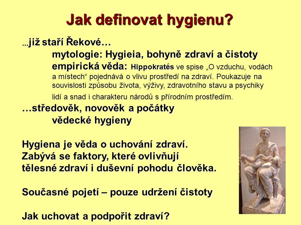 Jak definovat hygienu? … již staří Řekové… mytologie: Hygieia, bohyně zdraví a čistoty empirická věda: Hippokratés empirická věda: Hippokratés ve spis