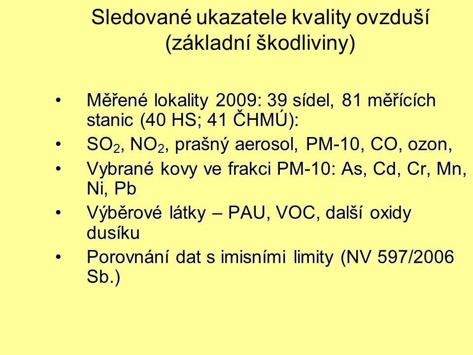 Sledované ukazatele kvality ovzduší (základní škodliviny) Měřené lokality 2009: 39 sídel, 81 měřících stanic (40 HS; 41 ČHMÚ):Měřené lokality 2009: 39