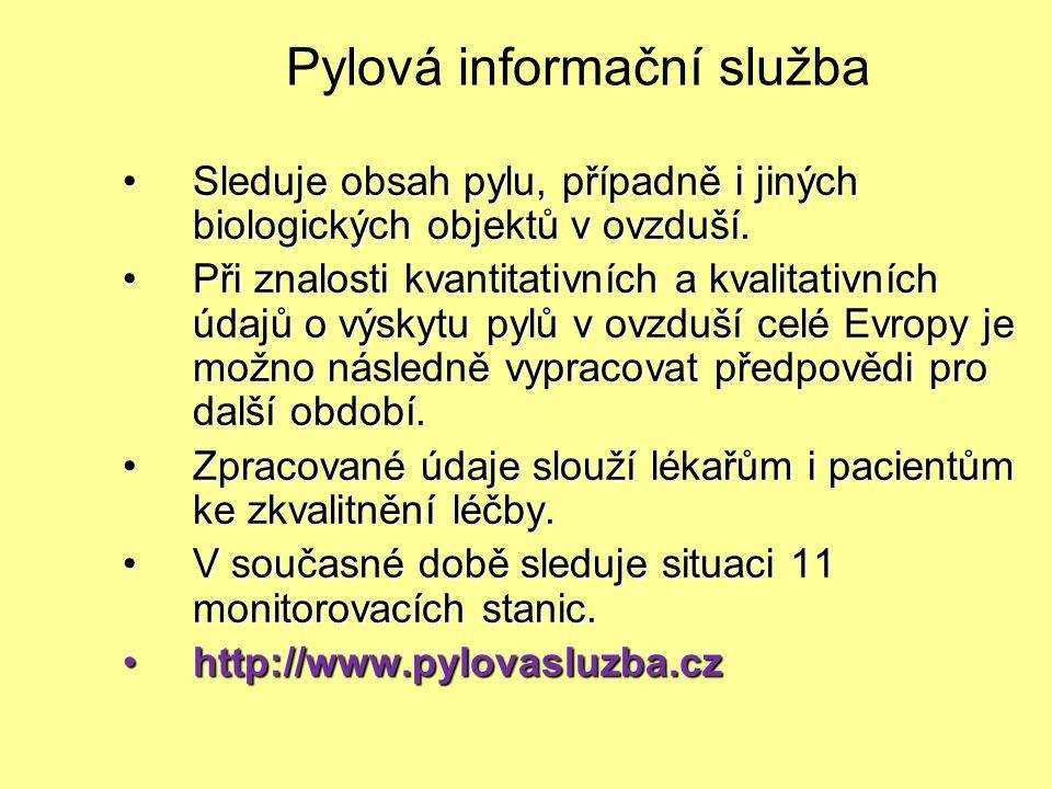 Pylová informační služba Sleduje obsah pylu, případně i jiných biologických objektů v ovzduší.Sleduje obsah pylu, případně i jiných biologických objek