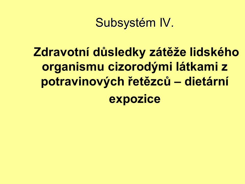 Subsystém IV. Subsystém IV. Zdravotní důsledky zátěže lidského organismu cizorodými látkami z potravinových řetězců – dietární expozice