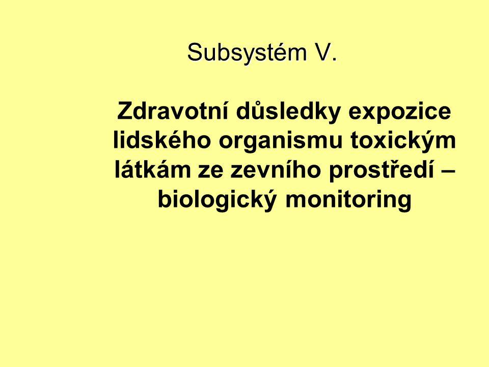 Subsystém V. Subsystém V. Zdravotní důsledky expozice lidského organismu toxickým látkám ze zevního prostředí – biologický monitoring
