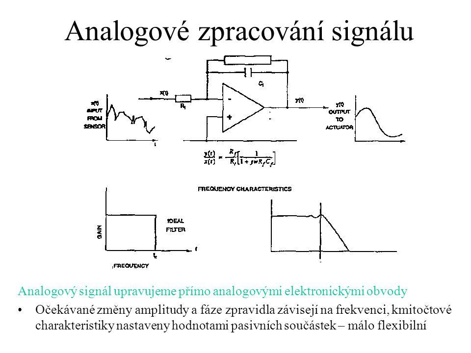 Analogové zpracování signálu Analogový signál upravujeme přímo analogovými elektronickými obvody Očekávané změny amplitudy a fáze zpravidla závisejí n