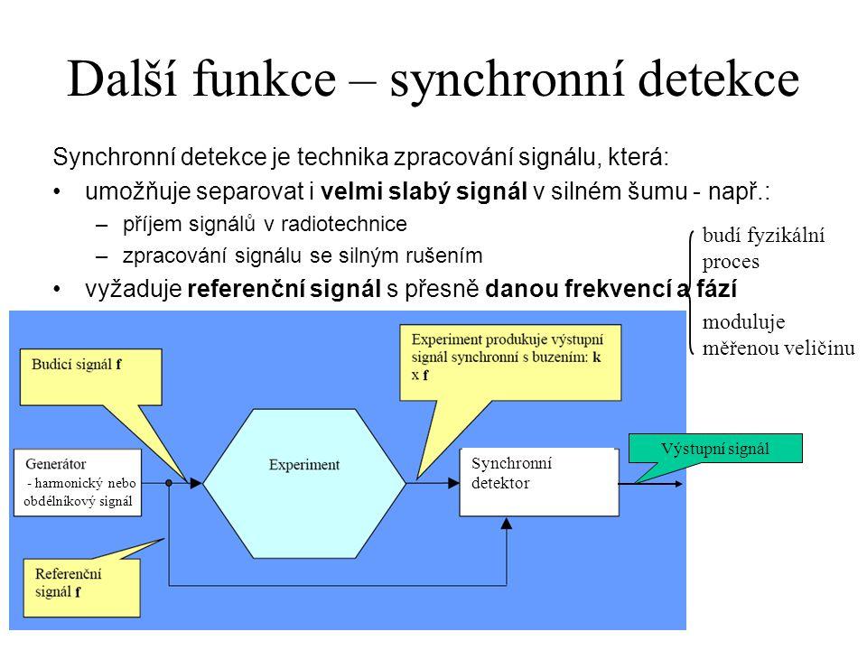 Další funkce – synchronní detekce Synchronní detekce je technika zpracování signálu, která: umožňuje separovat i velmi slabý signál v silném šumu - na
