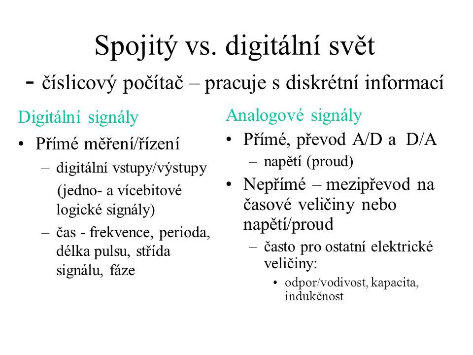 Spojitý vs. digitální svět - číslicový počítač – pracuje s diskrétní informací Digitální signály Přímé měření/řízení –digitální vstupy/výstupy (jedno-