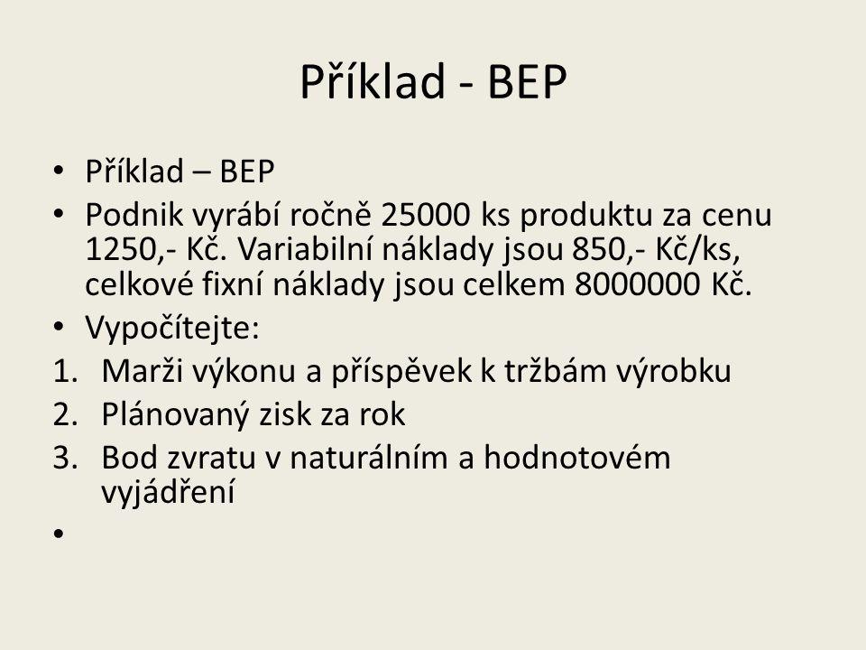 Příklad - BEP Příklad – BEP Podnik vyrábí ročně 25000 ks produktu za cenu 1250,- Kč. Variabilní náklady jsou 850,- Kč/ks, celkové fixní náklady jsou c